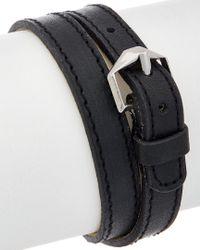 Rebecca Minkoff - Crystal Black Leather Wrap Bracelet - Lyst