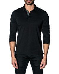 Jared Lang - Black Line-dot Revers Pique Polo Shirt for Men - Lyst
