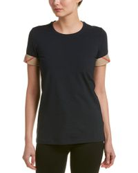 Burberry - Blue Check Cuff Stretch Cotton T-shirt - Lyst