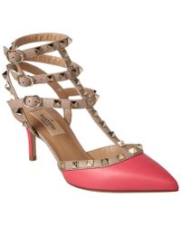 Valentino - Pink Cage Rockstud 65 Leather Ankle Strap Pump - Lyst