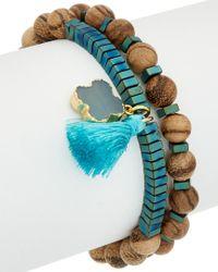 Mad Jewels - Multicolor Set Of 2 Gemstone Stretch Bracelets - Lyst