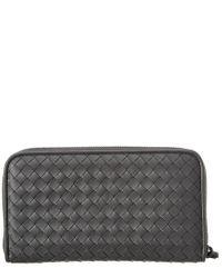 Bottega Veneta - Gray Intrecciato Nappa Leather Zip Around Wallet - Lyst