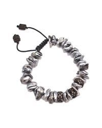 Armenta - Metallic Old World Silver 0.29 Ct. Tw. Diamond & 3-5mm Keshi Pearl Bracelet - Lyst