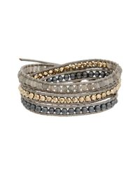 Chan Luu - Metallic Silver Leather Gemstone Wrap Bracelet - Lyst