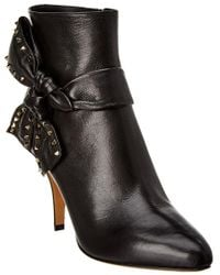 Valentino - Black Studded Bow Leather Ankle Bootie - Lyst