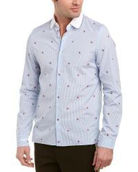 Gucci - Blue Bee Fil Coupe Cambridge Woven Shirt for Men - Lyst