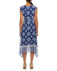 Shoshanna - Blue Silk Midi Dress - Lyst