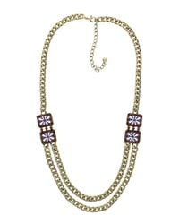 Sparkling Sage - Metallic Plated Resin & Crystal Double Layer Chain Necklace - Lyst