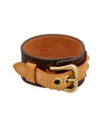 Louis Vuitton - Brown Gold-tone & Monogram Canvas Detafosu Bracelet - Lyst