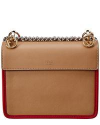 Fendi - Brown Kan I F Logo Small Studded Leather Satchel - Lyst