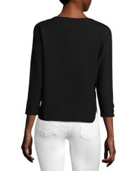 Three Dots - Black Curved Hem Sweater - Lyst