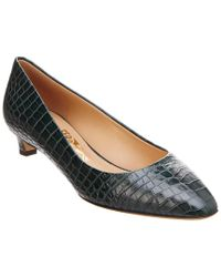 Ferragamo - Green Croc-embossed Leather Pump - Lyst