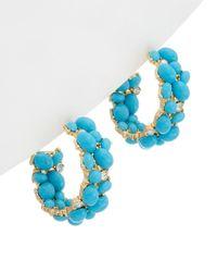Kenneth Jay Lane - Blue Gold Plated Drop Earrings - Lyst