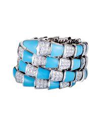BVLGARI - Blue Bulgari Serpenti 18k 17.23 Ct. Tw. Diamond & Turquoise Bracelet - Lyst