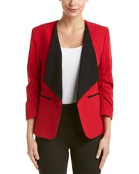 Nine West - Red Ruched Sleeve Blazer - Lyst