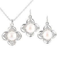 Splendid - Metallic Rhodium Plated Silver 8-8.5mm Freshwater Pearl & Cz Drop Earrings & Necklace Set - Lyst