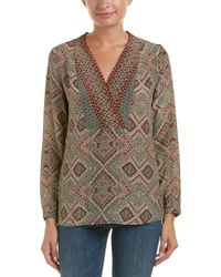 Tolani - Natural Printed Silk Blouse - Lyst