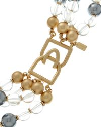 Kenneth Jay Lane - Metallic Plated Resin Bead Layered Necklace - Lyst