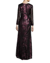 Tadashi Shoji - Multicolor Sequined Empire Waist Gown - Lyst