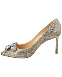 Jimmy Choo - Metallic Marvel 85 Crystal Embellished Glitter Fabric Pointy-toe Pump - Lyst