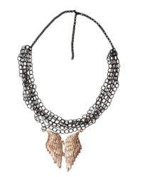 Bernard Delettrez | Black Silver Mesh And Angel Wing Necklace | Lyst