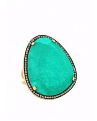Christina Debs | Green Hard Candy Turquoise And Brown Diamond Ring | Lyst