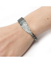 Leivan Kash - Metallic Feather Hematite Bracelet - Lyst