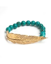 Leivan Kash | Multicolor Gold Feather Bead Bracelet | Lyst