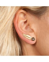 Leivan Kash - Gray Gold Feather Pearl Earrings - Lyst