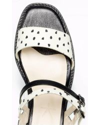5yMedio | Black Olivia Dalmatian Soft Stamped Leather Sandals | Lyst