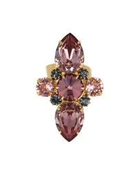 Otazu - Metallic 14kt Gold-plated Ring With Pink And Montana Swarovski Crystals - Lyst