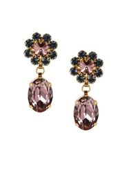 Otazu | Metallic 14kt Gold-plated Clip-on Earrings With Siam Swarovski Crystals | Lyst