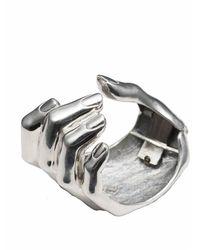 Bernard Delettrez | Metallic Silver Hand Cuff Bracelet | Lyst