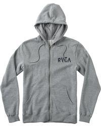 RVCA - Gray M.o.r. Zip Fleece for Men - Lyst