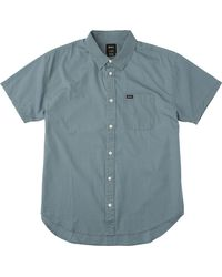 RVCA | Blue Front Lawn Short Sleeve Shirt for Men | Lyst