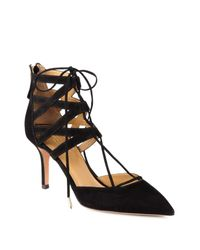 Aquazzura - Black Belgravia Suede Lace-up Pumps - Lyst