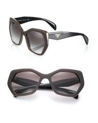 Prada - Brown Angular 56mm Pentagonal Sunglasses - Lyst