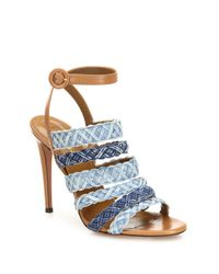 Aquazzura | Blue Tyra Strappy Denim & Leather Ankle-strap Sandals | Lyst