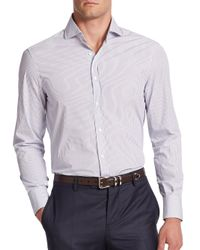 Brunello Cucinelli - Blue Ministriped Cotton Button-down Shirt for Men - Lyst