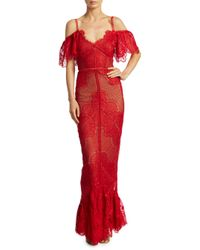 Marchesa notte - Red Cold-shoulder Fluted Lace Gown - Lyst