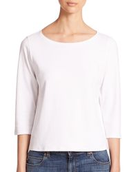 Eileen Fisher | White Ballet-neck Organic Cotton Tee | Lyst
