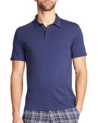 Saks Fifth Avenue | Blue Zip-placket Cotton Polo for Men | Lyst