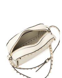 Valentino | White Rockstud Pebbled Leather Camera Crossbody Bag | Lyst