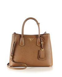 Prada | Brown Saffiano Cuir Medium Double Bag | Lyst