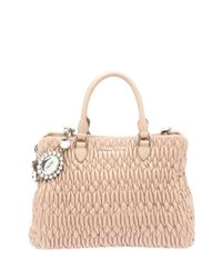 Miu Miu - Natural Nappa Crystal Matelasse Leather Satchel - Lyst