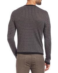 Saks Fifth Avenue - Gray Jacquard Square Print Sweater for Men - Lyst
