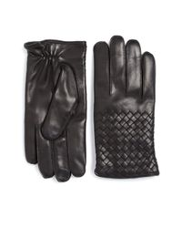 Bottega Veneta - Black Leather Gloves for Men - Lyst