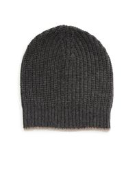 Brunello Cucinelli - Gray Ribbed Cashmere Beanie for Men - Lyst
