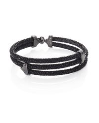 Stinghd | Blackened Silver & Stingray Triangle Wrap Bracelet for Men | Lyst