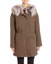 Army by Yves Salomon | Natural Cotton Fox Fur-trimmed Parka | Lyst